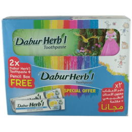 Зубная паста Dabur Herb'l Salt & Lemon (соль и лимон) + пенал в подарок